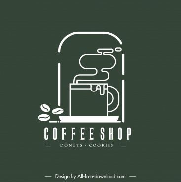 coffee shop logotype classic flat sketch