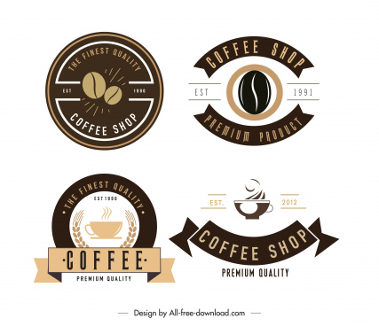 coffee shop logotypes dark bright flat decor