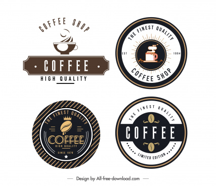 coffee shop logotypes flat decor classic design