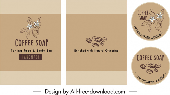 coffee soap labels templates classic handdrawn design