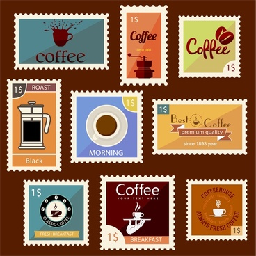 coffee stamps collection design with vintage style
