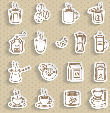 coffee stickers vector set