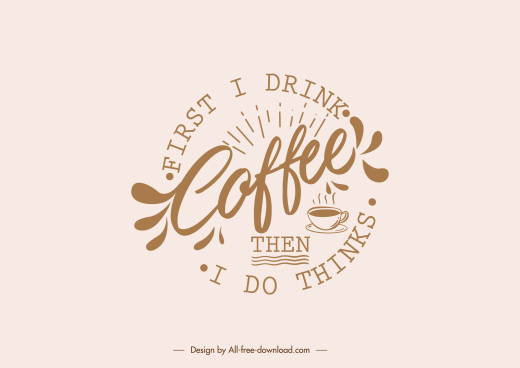 coffee style conceptual icon calligraphic decor flat sketch