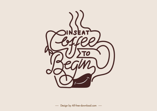 coffee style icon calligraphic curves cup sketch