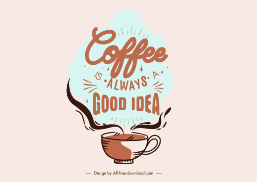 coffee style icon retro handdrawn cup texts decor