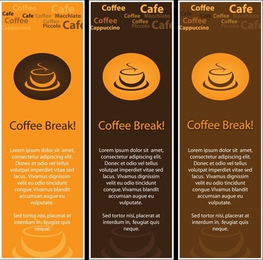 coffee banner templates classical brown decor cup sketch