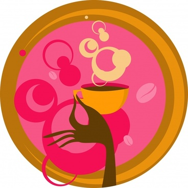 coffee advertising background colored flat classical circle layout
