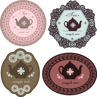 coffee labels templates flat pot icon elegant retro