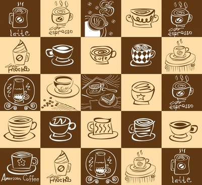 coffee pattern template retro handdrawn cups sketch