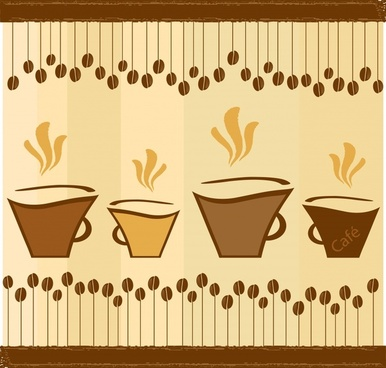 coffee background flat classical handdrawn beans cups sketch