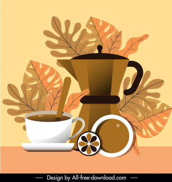 coffee time background colored retro flat sketch