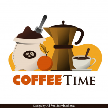 coffee time banner colored classic flat design