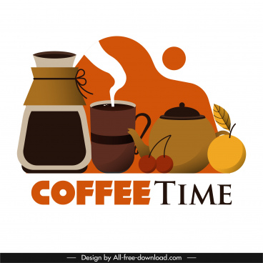 coffee time banner colorful classic decor objects sketch