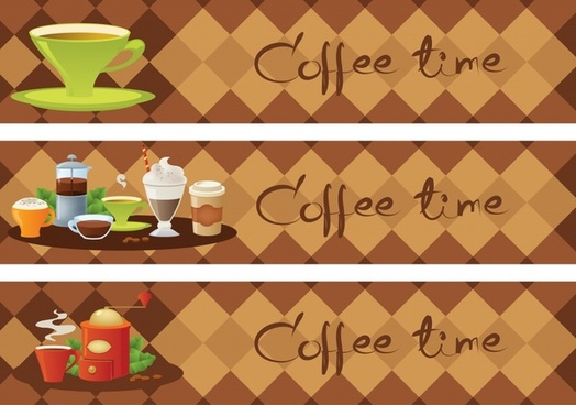 coffee time banners horizontal classic geometric background decor