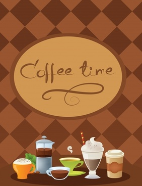 coffee time banner colorful classic checkered background