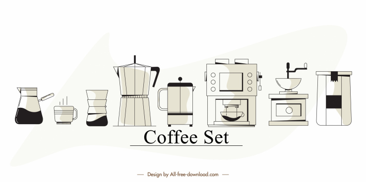 coffee tools elements classic flat sketch