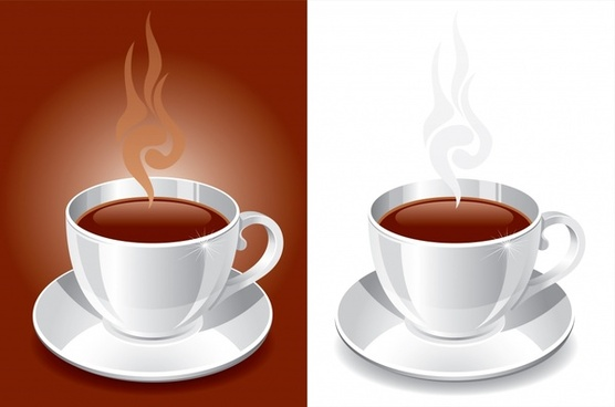 coffee advertising background 3d cup icons decor