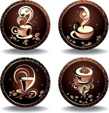 coffee labels templates elegant brown dynamic decor