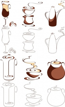 coffee design elements white brown flat handdrawn sketch