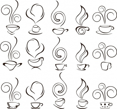 coffee cup icons simple handdrawn sketch
