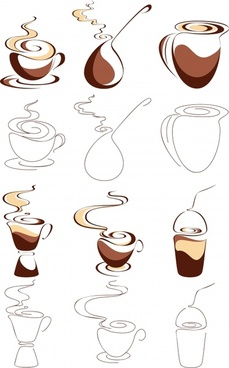 coffee cup icons classical handdrawn sketch