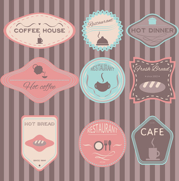coffee with cafe colored vintage labels