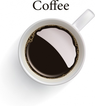 coffee advertising banner cup icon realistic design