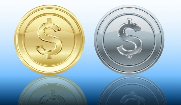 coin icons shiny gold silver design