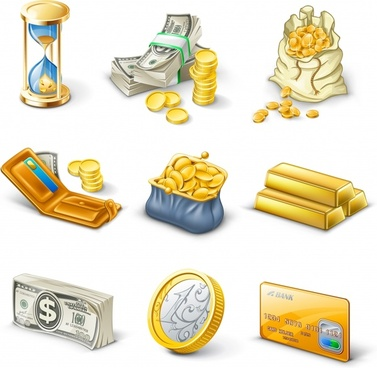 wealth design elements coin money gold icons
