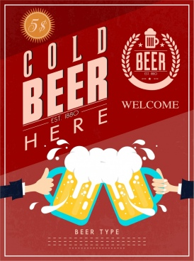 cold beer advertisement cheering hands big glass decor