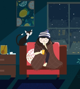 cold winter drawing girl cat cozy room icons