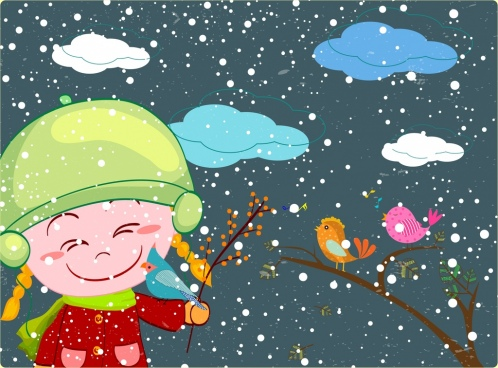 cold winter drawing joyful kid colored cartoon