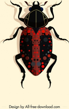 coleopterous insect icon sparkling dark colored spotted decor