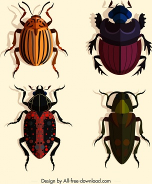 coleopterous insects icons dark colored design