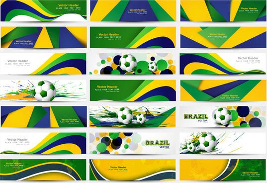 collection banner and header set brazil flag colors concept presentation vector design