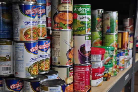 collection of canned food items in the pantry