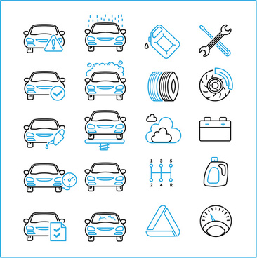collection of car repair service icons