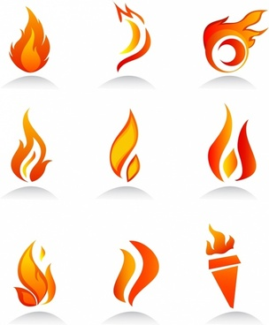 collection of fire icons and elements