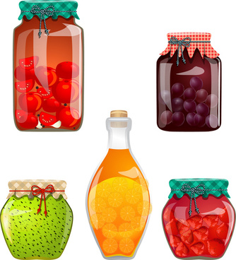collection of glass jars with jam vector illustration