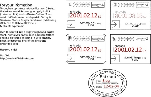 Collection Of Passport Stamps (feaux) clip art