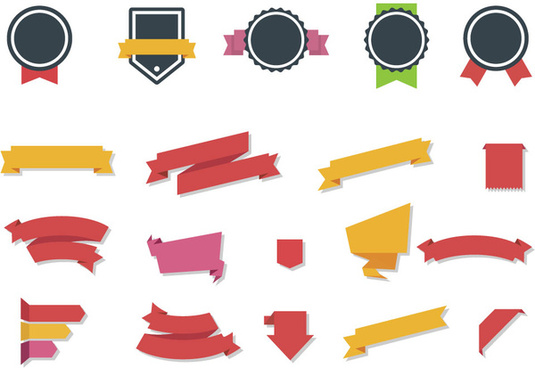 collection of vector ribbons and labels