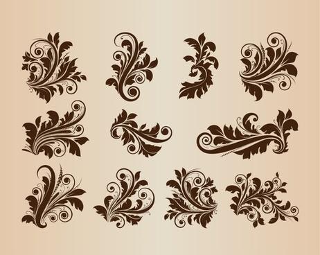 collection of vector vintage floral design ornament elements