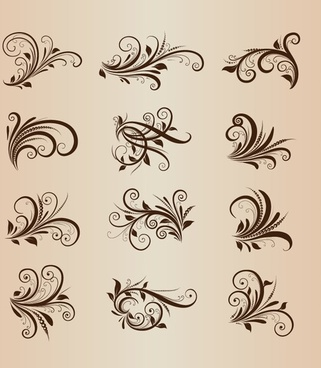collection of vector vintage floral ornament design elements