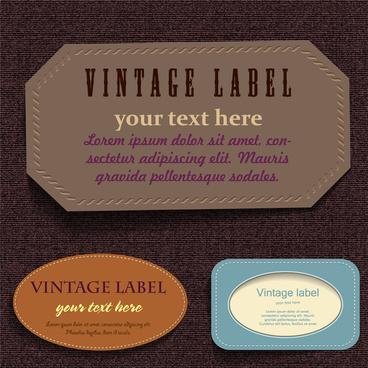 collection of vintage labels with leather material design