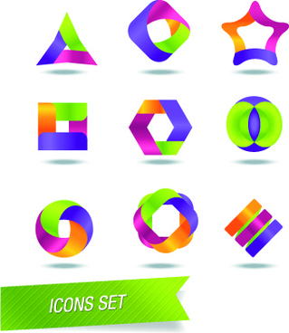 color abstract icons vector