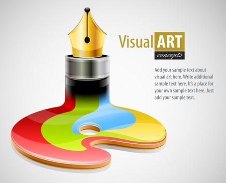 visual art background modern pen melting colors 3d