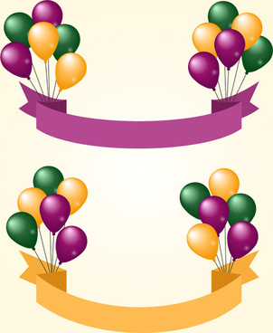 color balloon banner vector