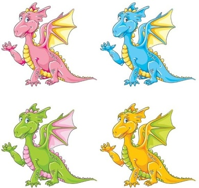 color cartoon cute little dinosaur vector