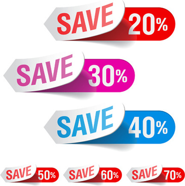 color discount stickers design vector graphics