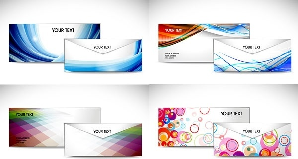 color envelope template vector